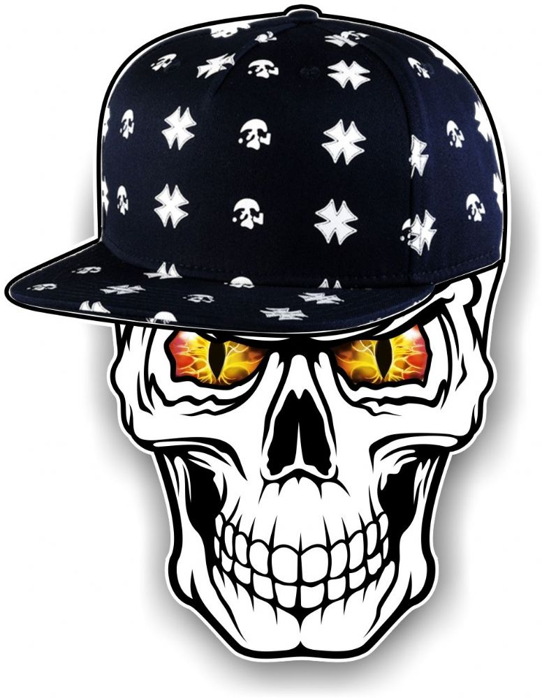 Gothic Hip Hop Skull With Red Amp Yellow Evil Eyes And